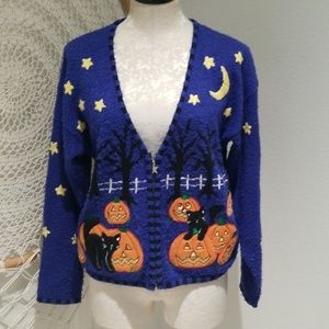 Vintage Halloween knit teacher sweater blk cat SM